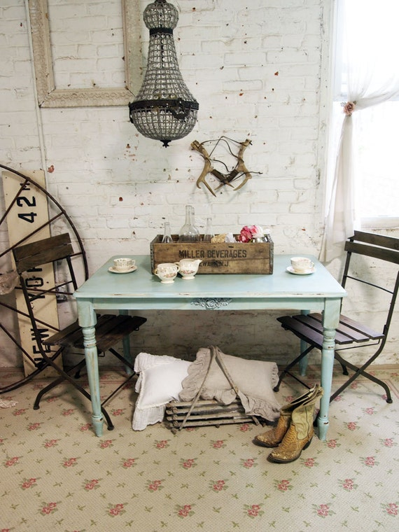 Painted Cottage Chic Shabby Aqua Farm Table TBL234