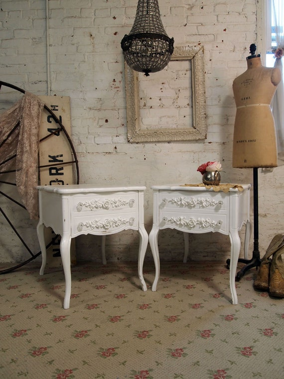 Painted Cottage Chic Shabby White Romantic End Tables ENT245