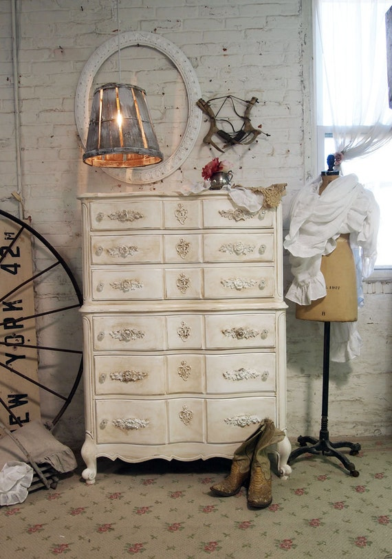 Painted Cottage Chic Shabby Tea Stained French Dresser
