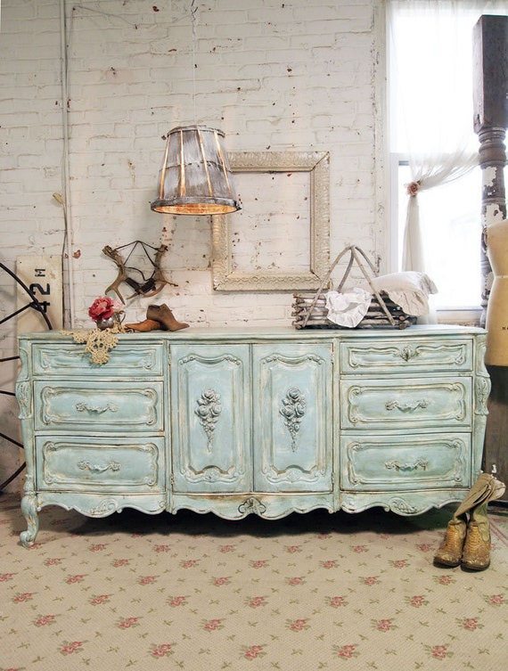 Painted Cottage Chic Shabby Aqua French Dresser Dr351