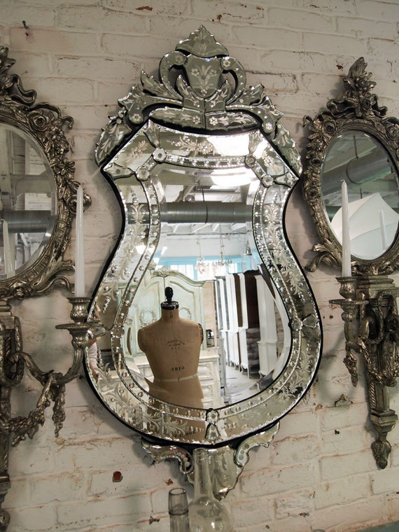 Painted Cottage Chic Shabby Venetian Mirror