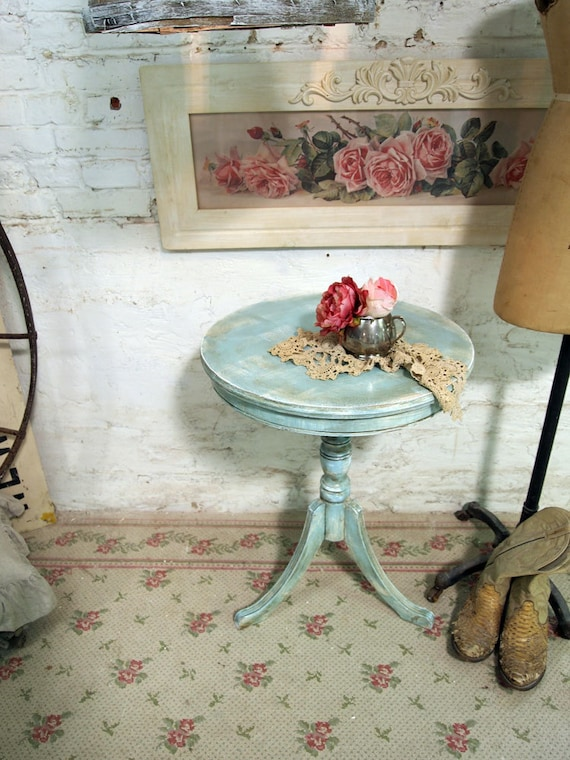 Painted Cottage Chic Shabby Aqua Round Side Table ENT246