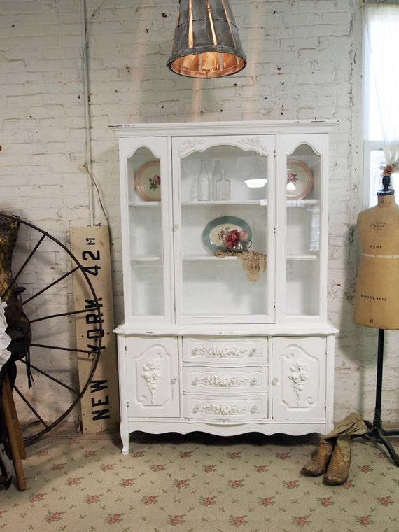 RESERVED for HILLARY Painted Cottage Chic Shabby White Romantic French China Cabinet CC325