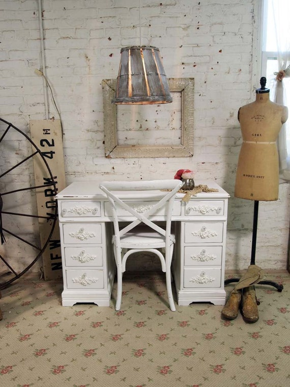 Painted Cottage Chic Shabby French Farmhouse Desk DK246