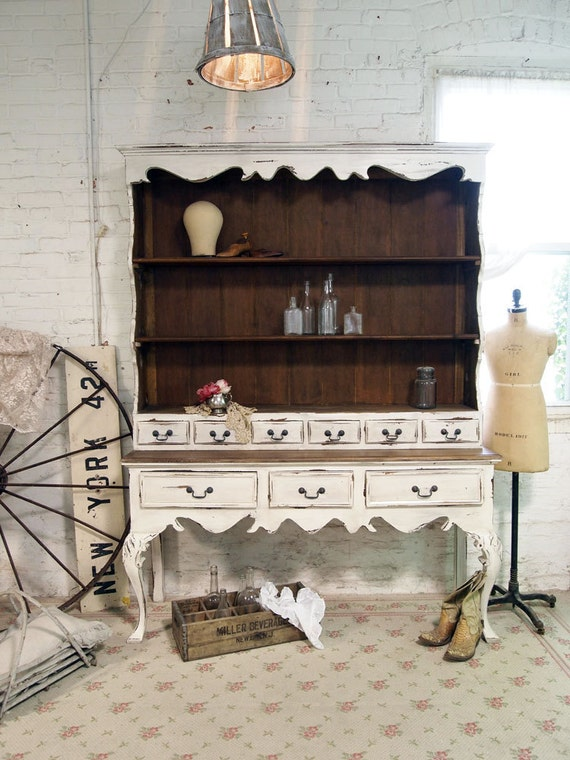 Painted Cottage Chic Shabby French Farmhouse China Cabinet / Hutch