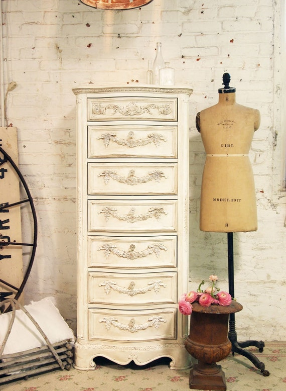 RESERVED for LISA Painted Cottage Chic Shabby Tea Stained Lingerie Chest CH16