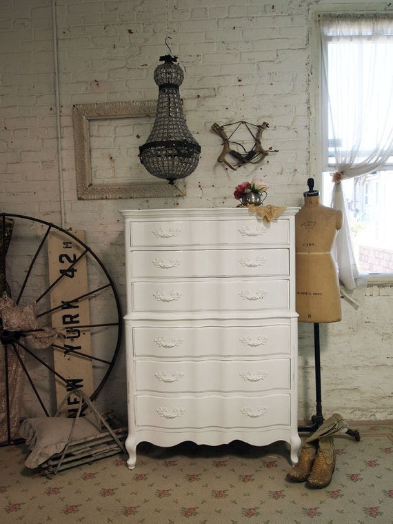 Painted Cottage Chic Shabby White Romantic Dresser CH302