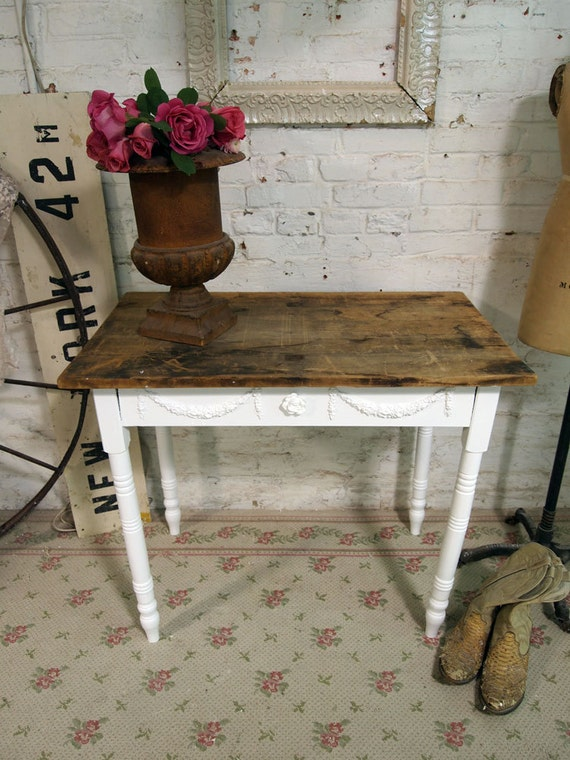 Painted Cottage Chic Shabby One of A Kind French Farm Table TBL245