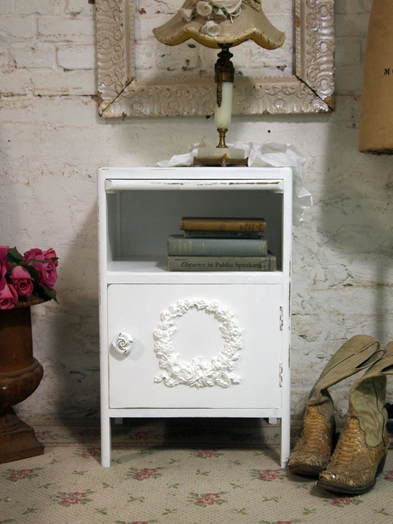 RESERVEWasaaPainted Cottage Chic Shabby Romantic Night Table NT376