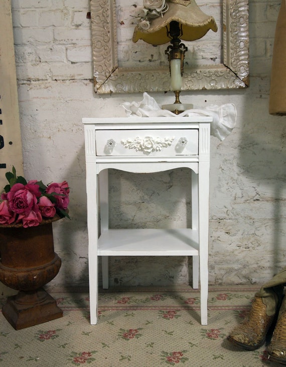 Painted Cottage Chic Shabby Romantic Night Table NT379