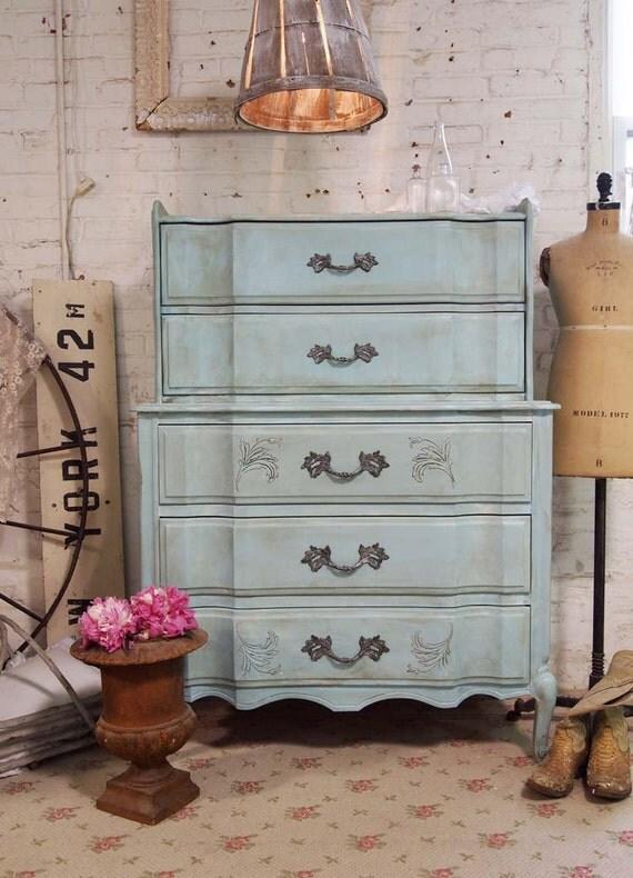Painted Cottage Chic Shabby Aqua Romantic Dresser CH326