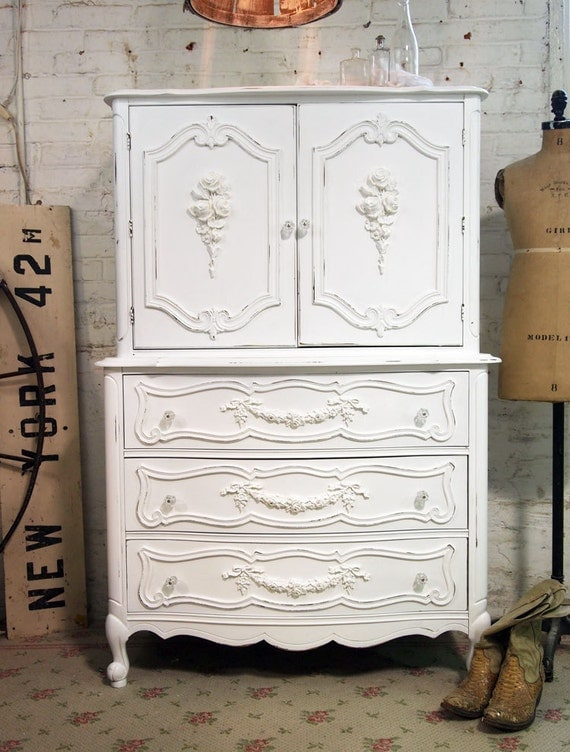 Painted Cottage Chic Shabby One of A Kind Romantic Dresser CH328