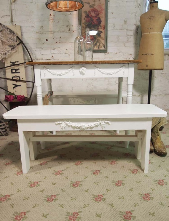 Painted Cottage Chic Shabby White Farmhouse Bench Chr232