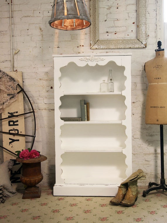 Painted Cottage Chic Shabby Romantic White Bookcase
