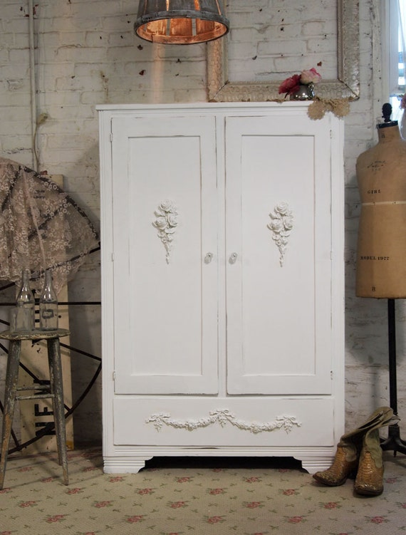 Painted Cottage Chic Shabby White Romantic Armoire AM244
