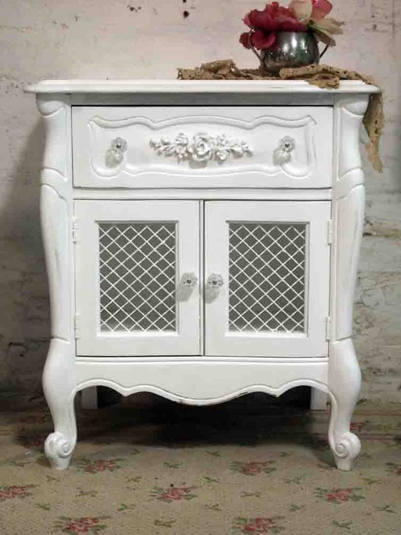 RESERVED for KRISTEN  Painted Cottage Shabby White Romantic French Night Table NT396