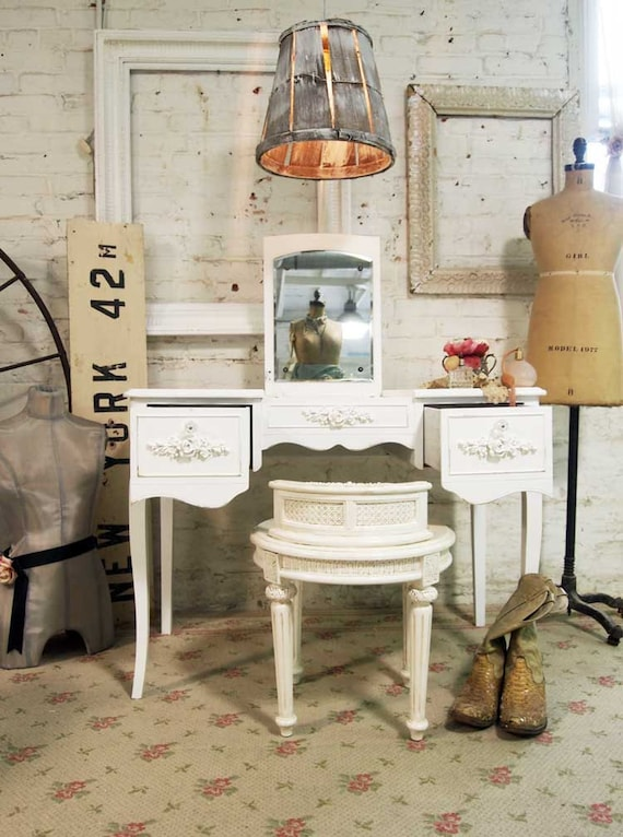 RESERVE for JULIE Painted Cottage Chic Shabby White Romantic French Vanity VAN237