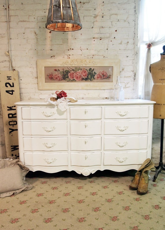 Painted Cottage Chic Shabby White Romantic French Dresser DR377