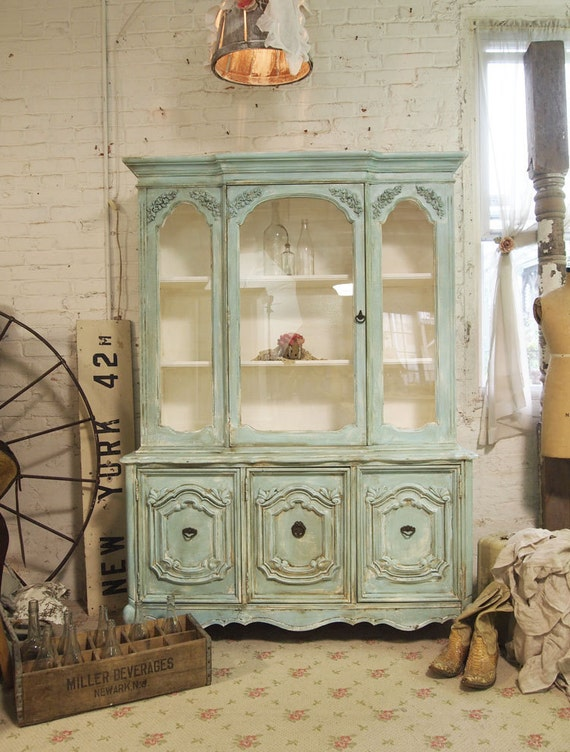 RESERVED for SARAH Painted Cottage Chic Shabby Aqua China Cabinet  CC345