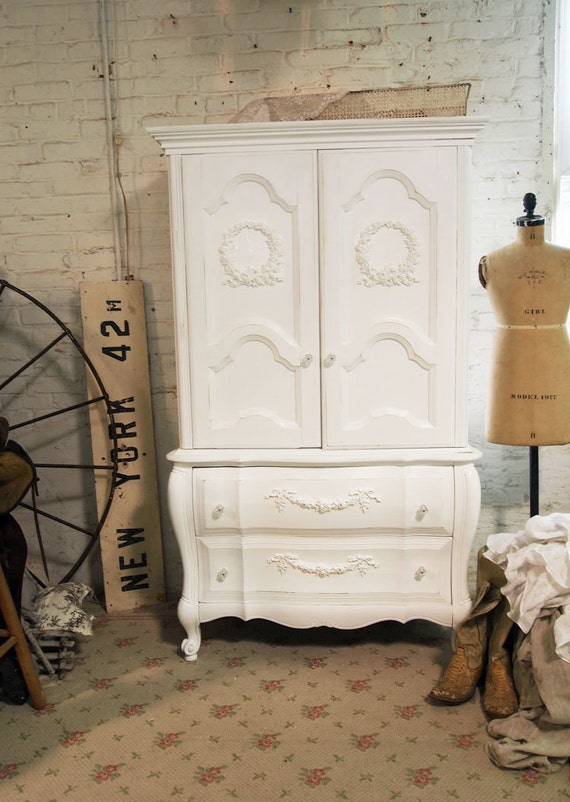 Painted Cottage Chic Shabby White Romantic Armoire AM247