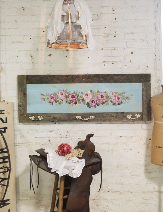 Painted Cottage Chic Shabby Hand Made Rose Painting VF278
