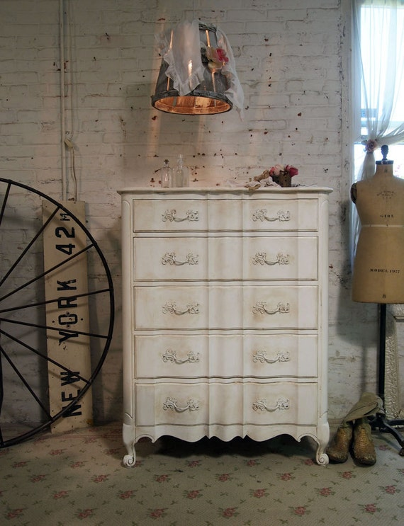 Painted Cottage Chic Shabby White Romantic Dresser DR384