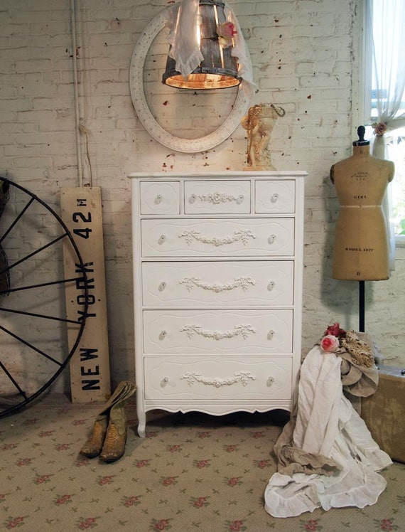 Painted Cottage Chic Shabby White Romantic French Dresser CH350