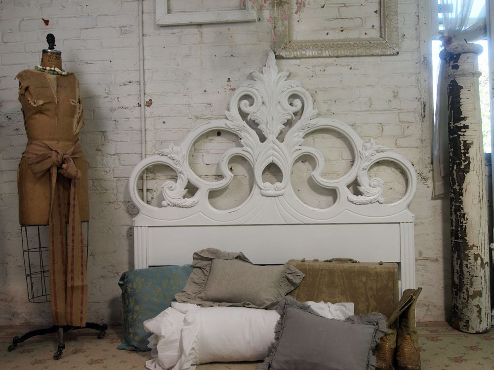 vintage painted cottage shabby white french headboard bd, Headboard designs