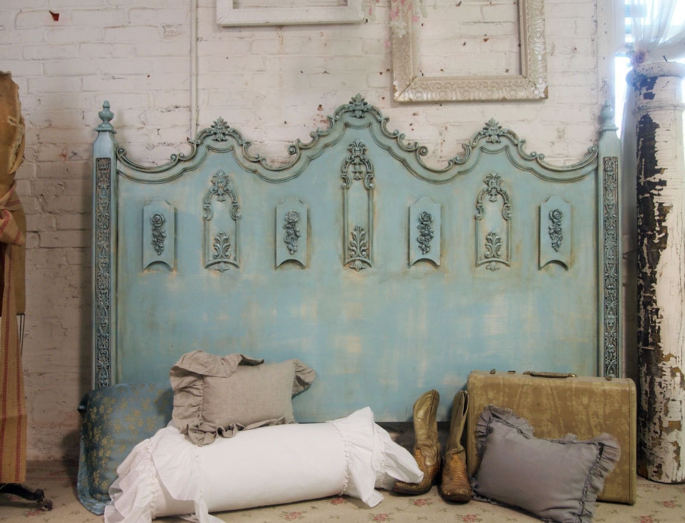 Vintage Painted Cottage Shabby Aqua Chic King Headboard Bd206