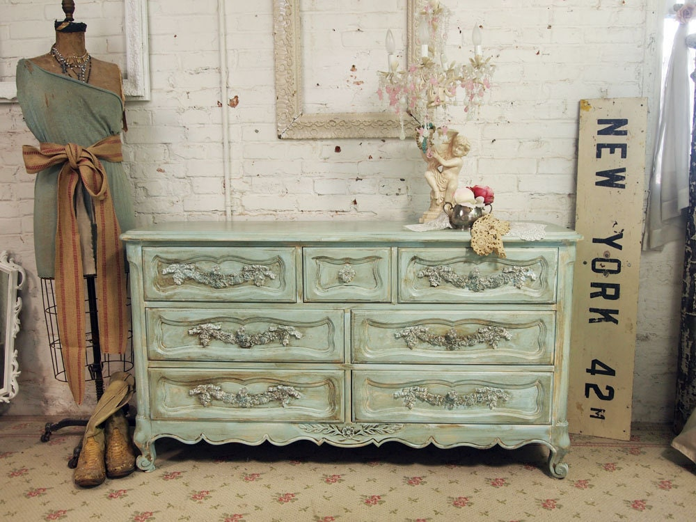 vintage painted cottage shabby aqua romantic dresser dr258. Black Bedroom Furniture Sets. Home Design Ideas