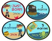 Personalized Monthly Stickers (ARGH I'm a Pirate)-Includes Newborn, Large 12 Month, and Bonus Stickers - Baby Month Milestone Stickers