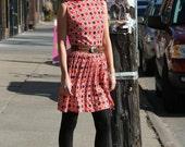 vintage 1960s nautical polka dot shift dress S