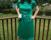 green cocktail dress with rhinestone belt and ruffled trims M
