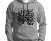 Mens or womens hoodie. Vintage octopus illustration screen printed on pullover hoody sweatshirt.
