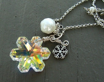 Snowflake Necklace, Swarovski Crystal Necklace, Crystal Snowflake, Silver Necklace, Holiday Jewelry, Fall Winter Fashion, Snow Queen