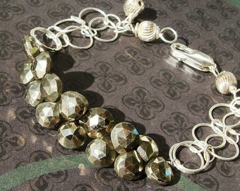 Pyrite Jewelry, Pyrite Bracelet, Silver Bracelet, Iron Pyrite, Heart Briolettes, Metaphysical Gemstone Jewelry, Protection, Circle Chain
