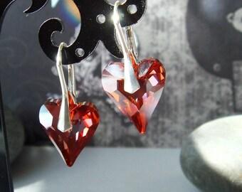 Red Heart Earrings, Swarovski Wild Heart, Sterling Silver Earrings, Crystal Hrarts, Euro Leverbacks - Sexy Earrings - LOVE