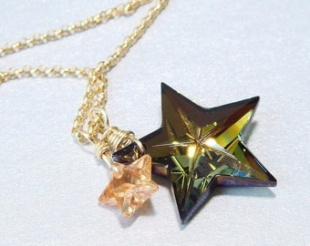 Star Jewelry, Swarovski Star Necklace, Star Pendant, Crystal Star, Vintage Star Crystal, 1980s, CZ Star
