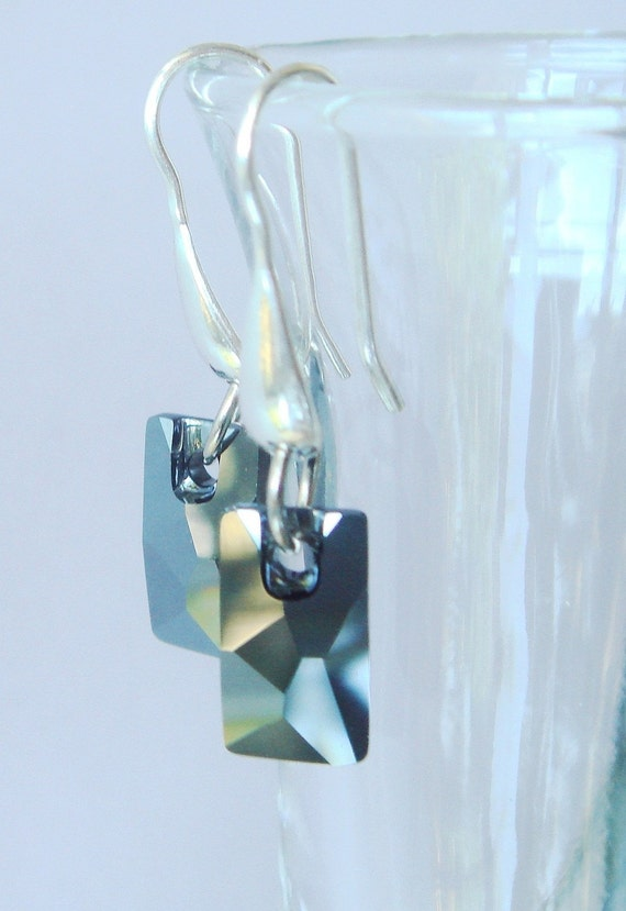 Swarovski Hematite Earrings Sterling - Jet Hematite Pendular Crystal Dangle Earrings -  Industrial Revolution
