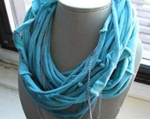 Blue-Green Tee Shirt Necklace with Chains