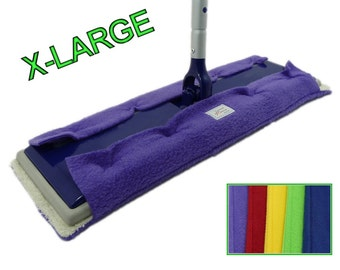 "3 EXTRA LARGE Pads fits 17"" Mops like Swiffer Heavy Duty, Big XL, Max, and Professional. Big Double Sided Reusable Fleece & Terry Cloth Pads"