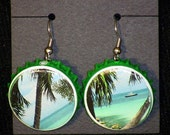 Recycled Bottlecap Earrings (Tropical Paradise)