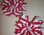Christmas Red White and Silver Boutique Hair Bows - Set of 2...CLEARANCE SALE