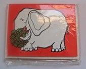 ELEPHANT Vintage Christmas Note Cards - Set of 8