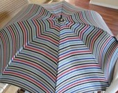 CHRISTMAS CLOSEOUT 50% off Vintage Striped Silk Umbrella with Wooden Handle