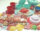 Vintage Toy Tableware and Food Set 1950's
