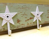 Cottage Chic Green And White Star Distressed Barnwood Coat Rack By Funky Junk Company On Etsy