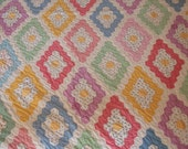 RESERVED - Cheerful Martha Washington's Flower Garden 1940s Vintage Quilt - Hand Pieced and Quilted