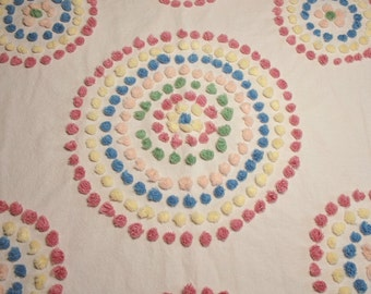 Handmade Vintage Chenille Crib Bedspread or Table Cover - 60 by 42 Inches