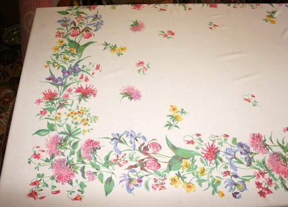 Elegant Cottage Garden Vintage Tablecloth  - 60 inches by 86 inches